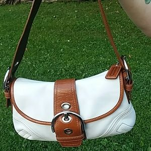 COACH TAN AND BROWN LEATHER BAG NWOT